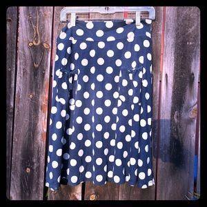 Navy Blue w/ Beige Polka Dot A-Line Skirt